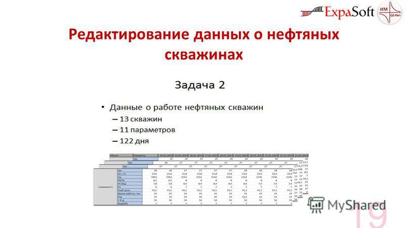 Редактирование данных о нефтяных скважинах 19