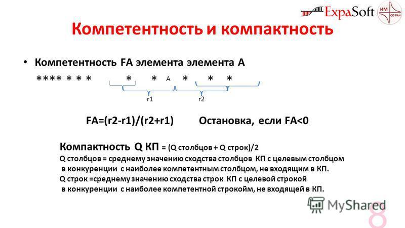 Компетентность и компактность Компетентность FА элемента элемента А **** * * * * * * * * r1r2 A FА=(r2-r1)/(r2+r1) Остановка, если FА