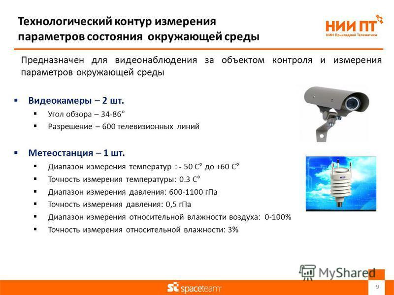 Технологический контур измерения параметров состояния окружающей среды Предназначен для видеонаблюдения за объектом контроля и измерения параметров окружающей среды Видеокамеры – 2 шт. Угол обзора – 34-86° Разрешение – 600 телевизионных линий Метеост