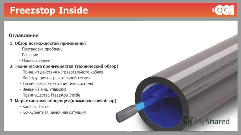 1. Обзор возможностей применения - Постановка проблемы - Решение - Общие сведения 2. Технические преимущества (технический обзор) - Принцип действия нагревательного кабеля - Конструкция нагревательной секции - Технические характеристики системы - Вне