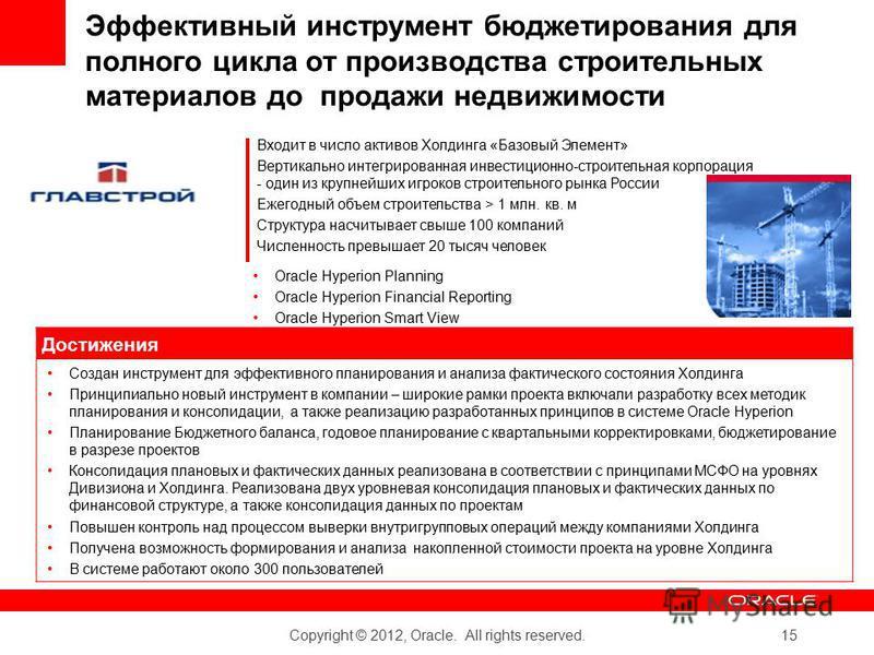Copyright © 2012, Oracle. All rights reserved. 15 Эффективный инструмент бюджетирования для полного цикла от производства строительных материалов до продажи недвижимости Входит в число активов Холдинга «Базовый Элемент» Вертикально интегрированная ин