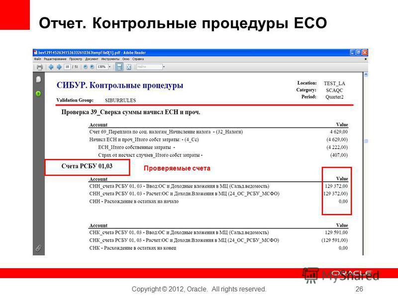 Copyright © 2012, Oracle. All rights reserved. 26 Проверяемые счета Отчет. Контрольные процедуры ЕСО
