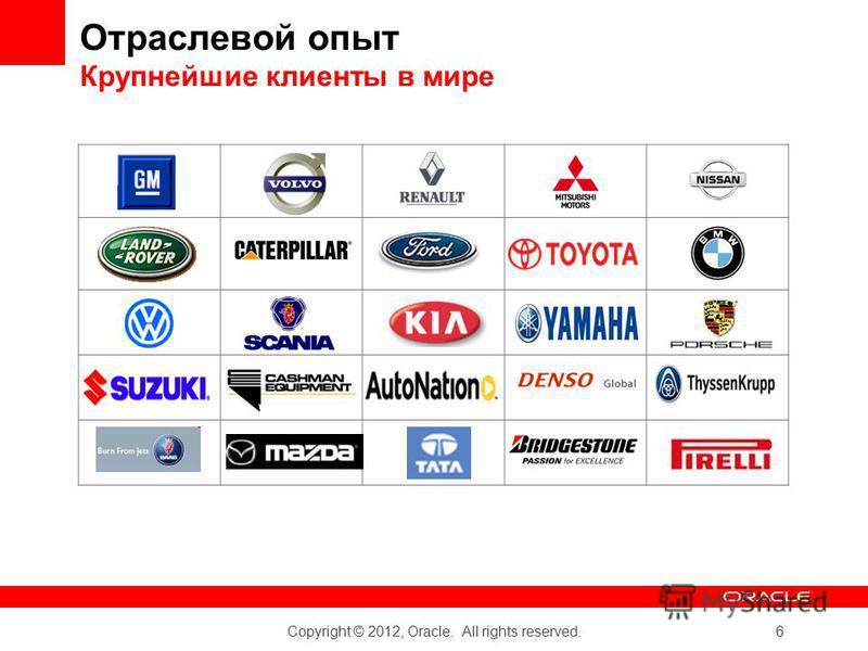 Copyright © 2012, Oracle. All rights reserved. 6 Отраслевой опыт Крупнейшие клиенты в мире