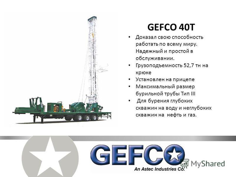 GEFCO 40T Доказал свою способность работать по всему миру. Надежный и простой в обслуживании. Грузоподъемность 52,7 тн на крюке Установлен на прицепе Максимальный размер бурильной трубы Тип III Для бурения глубоких скважин на воду и неглубоких скважи