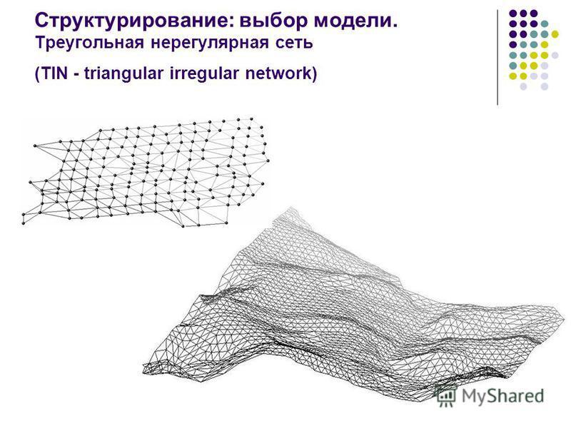 13 Структурирование: выбор модели. Треугольная нерегулярная сеть (TIN - triangular irregular network)
