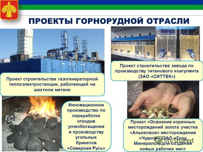 10 Проект строительства газогенераторной теплоэлектростанции, работающей на шахтном метане Проект строительства завода по производству титанового коагулянта (ЗАО «СИТТЕК») Инновационное производство по переработке отходов углеобогащения и производств