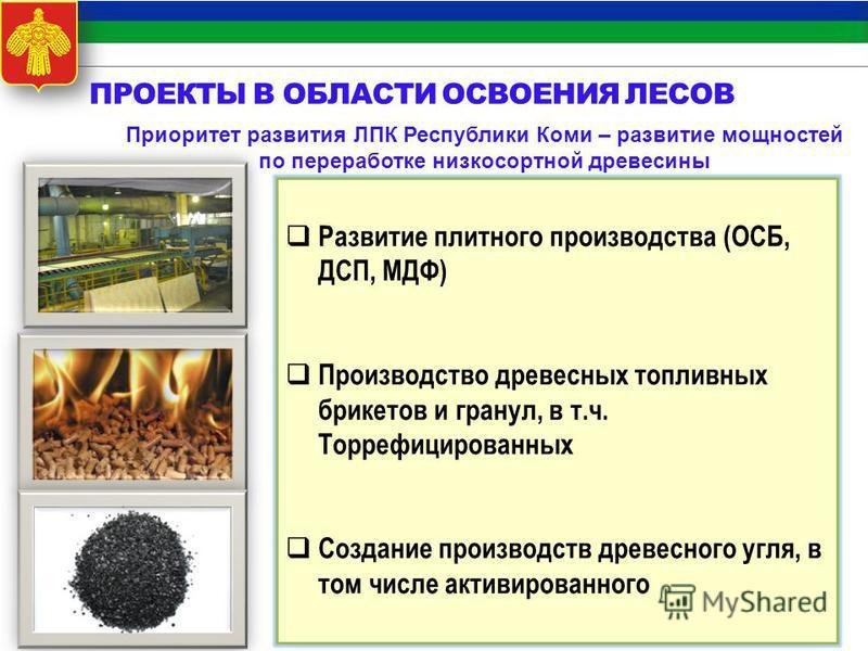 Приоритет развития ЛПК Республики Коми – развитие мощностей по переработке низкосортной древесины Развитие плитного производства (ОСБ, ДСП, МДФ) Производство древесных топливных брикетов и гранул, в т.ч. Торрефицированных Создание производств древесн