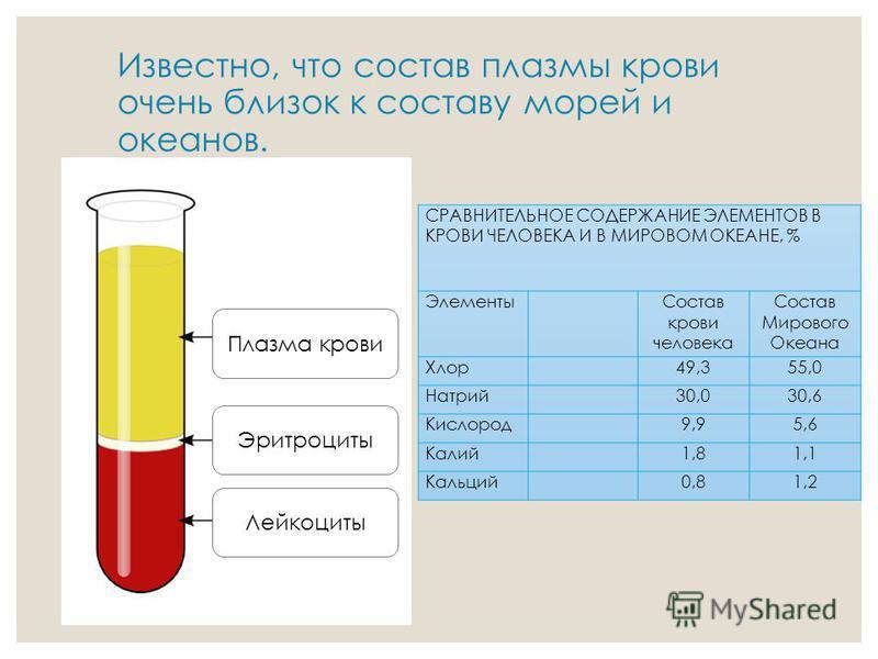 Известно, что состав плазмы крови очень близок к составу морей и океанов. Плазма крови Эритроциты Лейкоциты СРАВНИТЕЛЬНОЕ СОДЕРЖАНИЕ ЭЛЕМЕНТОВ В КРОВИ ЧЕЛОВЕКА И В МИРОВОМ ОКЕАНЕ, % Элементы Состав крови человека Состав Мирового Океана Хлор 49,355,0