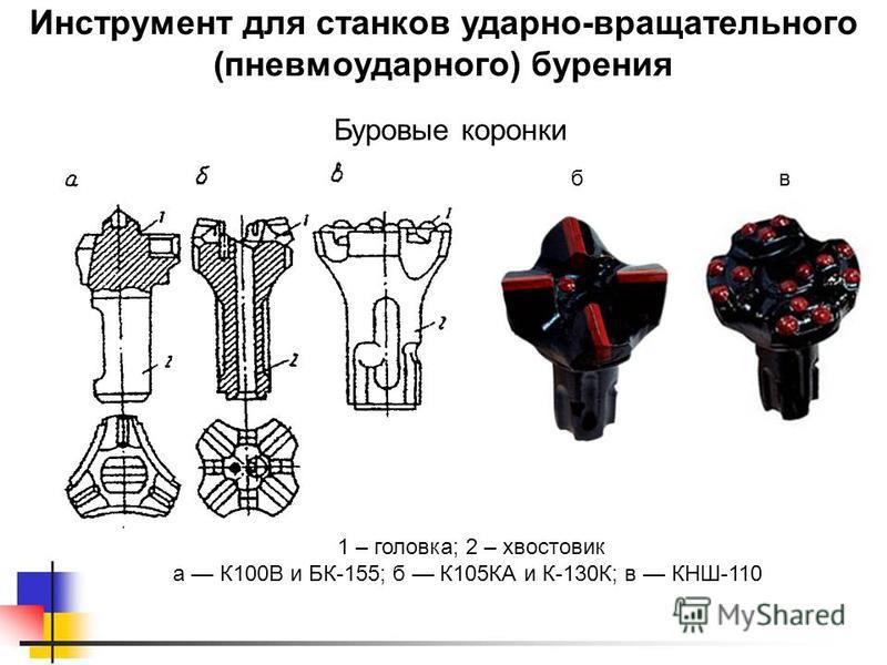 Инструмент для станков ударно-вращательного (пневмоударного) бурения 1 – головка; 2 – хвостовик а К100В и БК-155; б К105КА и К-130К; в КНШ-110 вб Буровые коронки