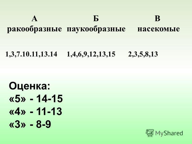А ракообразные Б паукообразные В насекомые 1,3,7.10.11,13.141,4,6,9,12,13,152,3,5,8,13 Оценка: «5» - 14-15 «4» - 11-13 «3» - 8-9