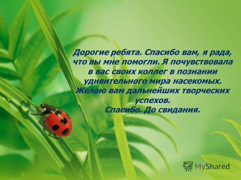 Дорогие ребята. Спасибо вам, я рада, что вы мне помогли. Я почувствовала в вас своих коллег в познании удивительного мира насекомых. Желаю вам дальнейших творческих успехов. Спасибо. До свидания.