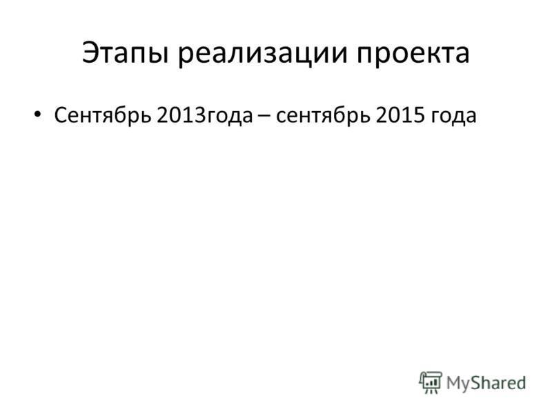 Этапы реализации проекта Сентябрь 2013 года – сентябрь 2015 года