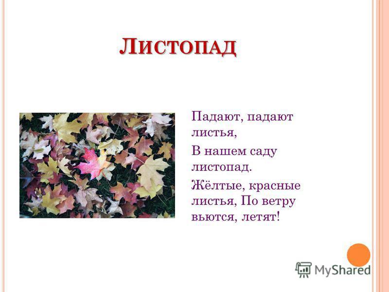Л ИСТОПАД Падают, падают листья, В нашем саду листопад. Жёлтые, красные листья, По ветру вьются, летят!