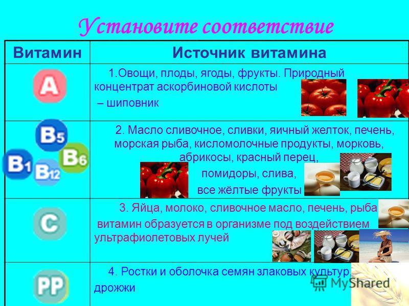 Установите соответствие Витамин Источник витамина 1.Овощи, плоды, ягоды, фрукты. Природный концентрат аскорбиновой кислоты – шиповник 2. Масло сливочное, сливки, яичный желток, печень, морская рыба, кисломолочные продукты, морковь, абрикосы, красный