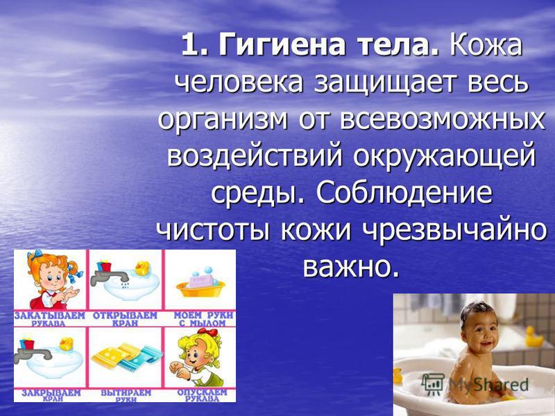 1. Гигиена тела. Кожа человека защищает весь организм от всевозможных воздействий окружающей среды. Соблюдение чистоты кожи чрезвычайно важно.