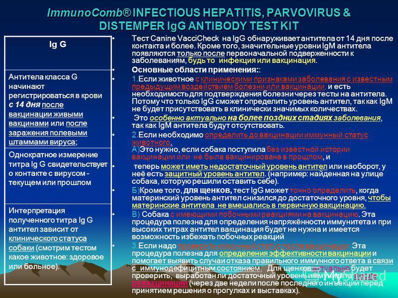 ImmunoComb® INFECTIOUS HEPATITIS, PARVOVIRUS & DISTEMPER IgG ANTIBODY TEST KIT Тест Canine VacciCheck на IgG обнаруживает антитела от 14 дня после контакта и более. Кроме того, значительные уровни IgM антитела появляются только после первоначальной п