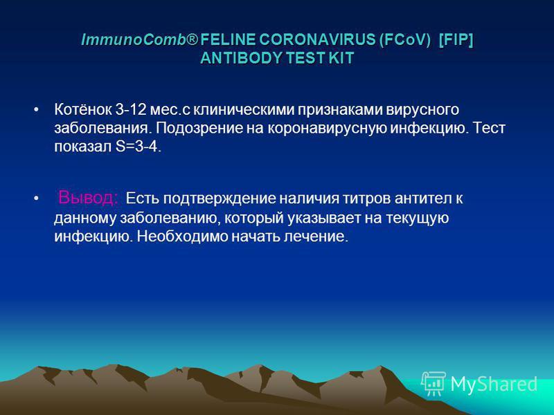 ImmunoComb® FELINE CORONAVIRUS (FCoV) [FIP] ANTIBODY TEST KIT Котёнок 3-12 мес.с клиническими признаками вирусного заболевания. Подозрение на коронавирусную инфекцию. Тест показал S=3-4. Вывод: Есть подтверждение наличия титров антител к данному забо