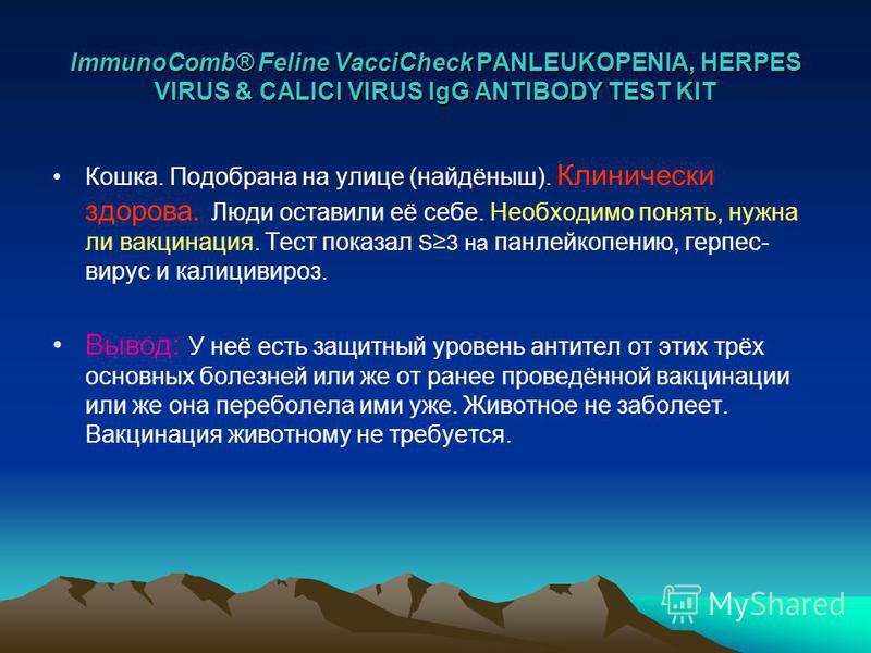 ImmunoComb® Feline VacciCheck PANLEUKOPENIA, HERPES VIRUS & CALICI VIRUS IgG ANTIBODY TEST KIT Кошка. Подобрана на улице (найдёныш). Клинически здорова. Люди оставили её себе. Необходимо понять, нужна ли вакцинация. Тест показал S 3 на панлейкопению,