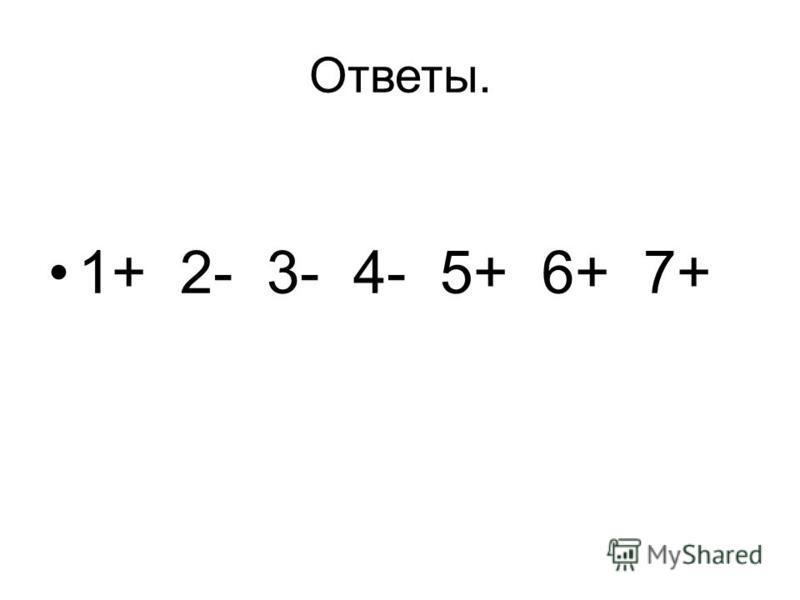 Ответы. 1+ 2- 3- 4- 5+ 6+ 7+