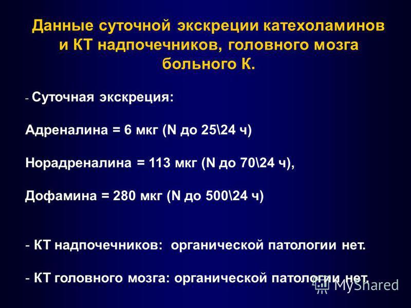Данные суточной экскреции катехоламинов и КТ надпочечников, головного мозга больного К. - Суточная экскреция: Адреналина = 6 мкг (N до 25\24 ч) Норадреналина = 113 мкг (N до 70\24 ч), Дофамина = 280 мкг (N до 500\24 ч) - КТ надпочечников: органическо