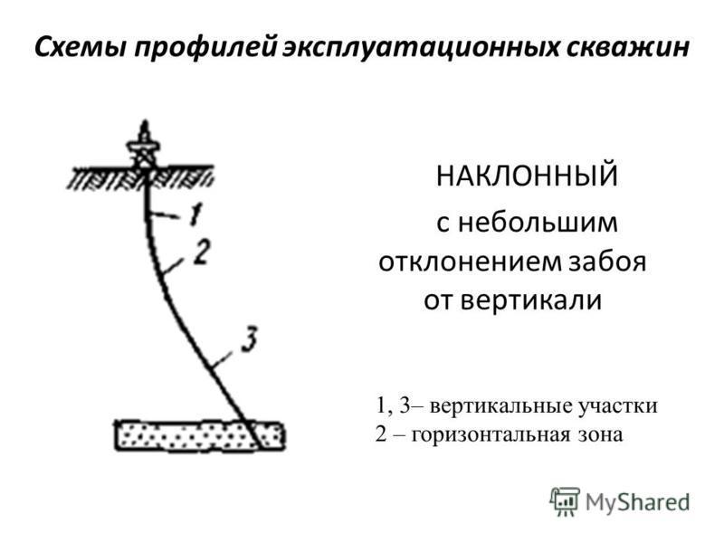 Схемы профилей эксплуатационных скважин НАКЛОННЫЙ с небольшим отклонением забоя от вертикали 1, 3– вертикальные участки 2 – горизонтальная зона