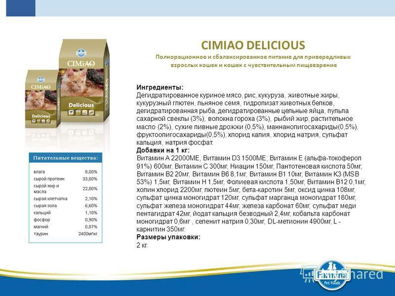 CIMIAO DELICIOUS Полнорационное и сбалансированное питание для привередливых взрослых кошек и кошек с чувствительным пищеварение Ингредиенты: Дегидратированное куриное мясо, рис, кукуруза, животные жиры, кукурузный глютен, льняное семя, гидролизат жи