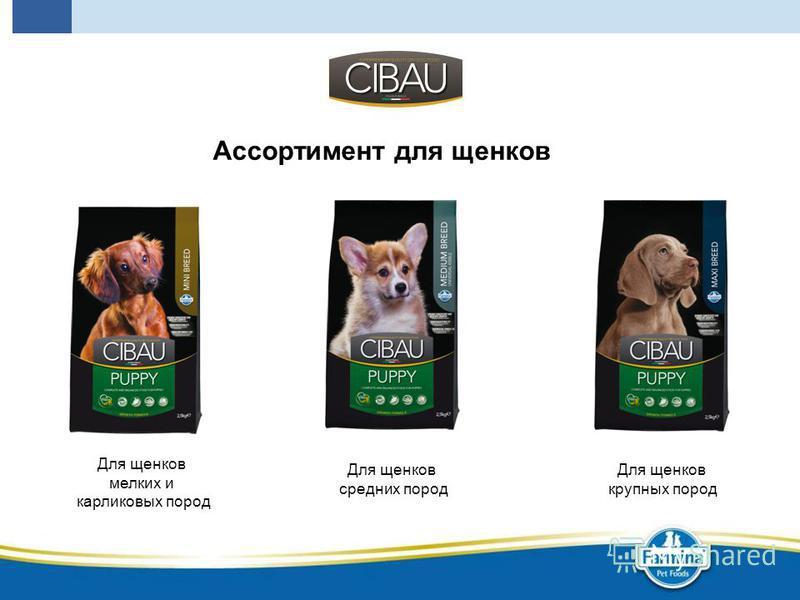 Ассортимент для щенков Для щенков крупных пород Для щенков средних пород Для щенков мелких и карликовых пород