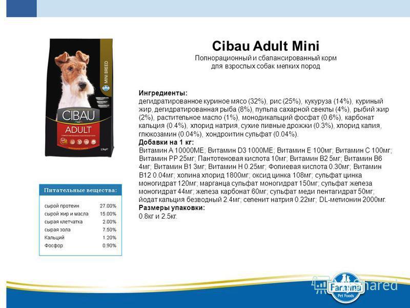 Cibau Adult Mini Полнорационный и сбалансированный корм для взрослых собак мелких пород Ингредиенты: дегидратированное куриное мясо (32%), рис (25%), кукуруза (14%), куриный жир, дегидратированная рыба (8%), пульпа сахарной свеклы (4%), рыбий жир (2%