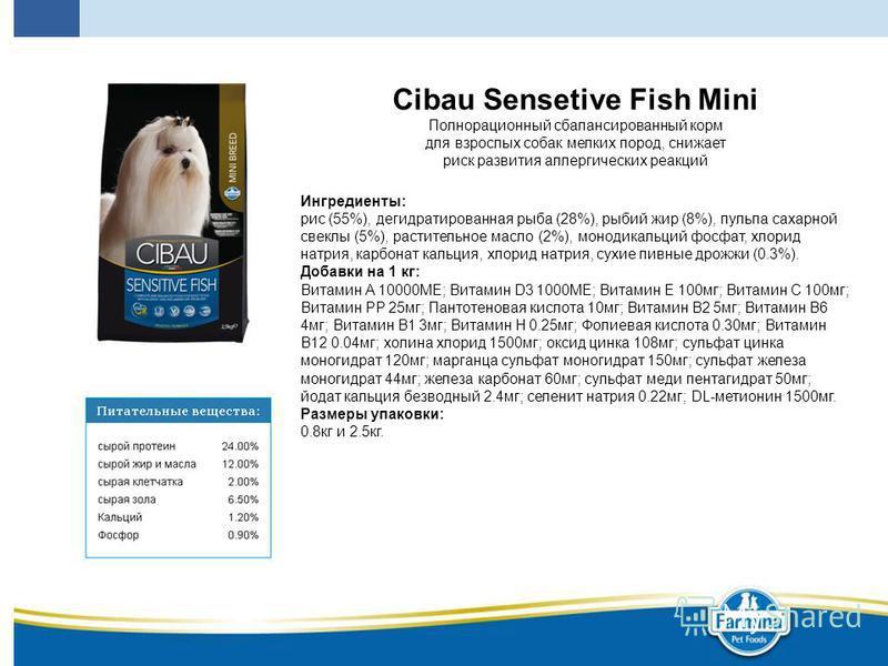 Cibau Sensetive Fish Mini Полнорационный сбалансированный корм для взрослых собак мелких пород, снижает риск развития аллергических реакций Ингредиенты: рис (55%), дегидратированная рыба (28%), рыбий жир (8%), пульпа сахарной свеклы (5%), растительно