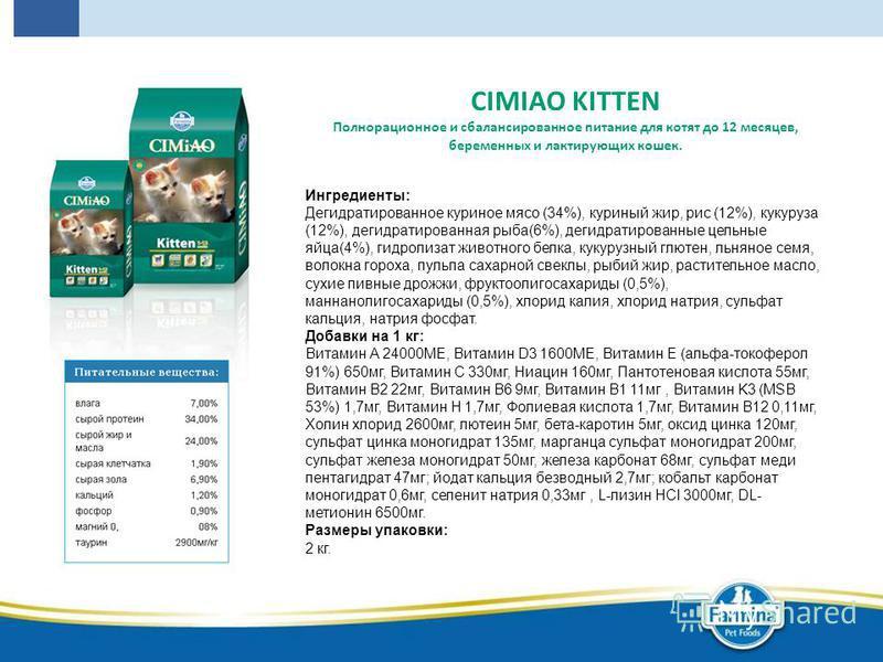 CIMIAO KITTEN Полнорационное и сбалансированное питание для котят до 12 месяцев, беременных и лактирующих кошек. Ингредиенты: Дегидратированное куриное мясо (34%), куриный жир, рис (12%), кукуруза (12%), дегидратированная рыба(6%), дегидратированные