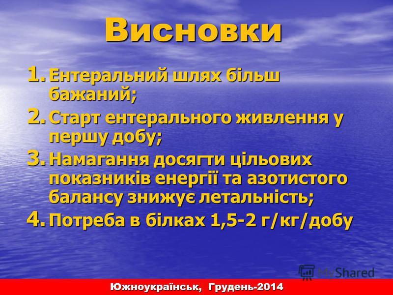 Южноукраїнськ, Грудень-2014 1. Ентеральний шлях більш бажаний; 2. Старт энтерального живлення у першу добу; 3. Намагання досягти цільових показників енергії та азотистого балансу знижує летальність; 4. Потреба в білках 1,5-2 г/кг/добу Висновки