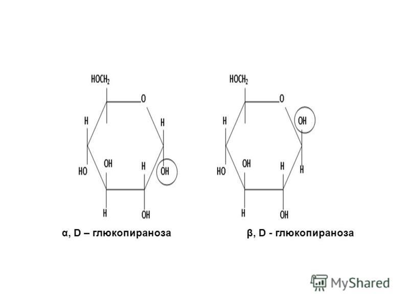 α, D – глюкопираноза β, D - глюкопираноза