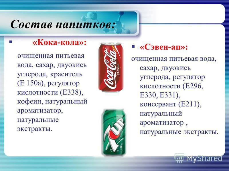 Состав на питков: «Кока-кола»: очищенная питьевая вода, сахар, двуокись углерода, краситель (Е 150 а), регулятор кислотности (Е338), кофеин, натуральный ароматизатор, натуральные экстракты. «Сэвен-а п»: очищенная питьевая вода, сахар, двуокись углеро