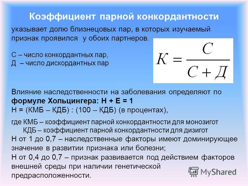 Коэффициент парной конкордантности указывает долю близнецовых пар, в которых изучаемый признак проявился у обоих партнеров. С – число конкордантных пар, Д – число дискордантных пар Влияние наследственности на заболевания определяют по формуле Хольцин