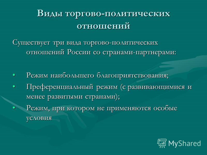Виды торгово-политических отношений Существует три вида торгово-политических отношений России со странами-партнерами: Режим наибольшего благоприятствования;Режим наибольшего благоприятствования; Преференциальный режим (с развивающимися и менее развит