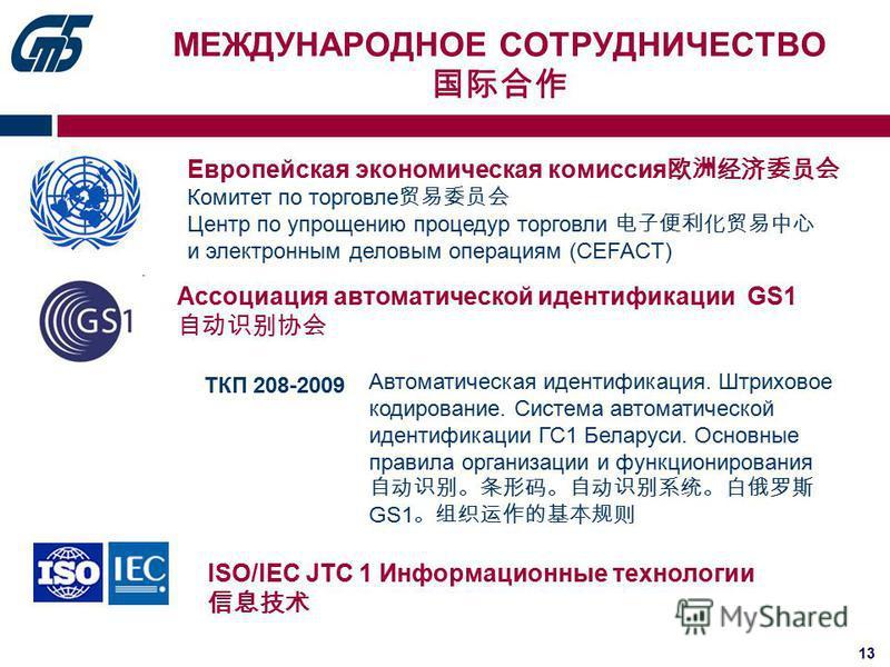 13 МЕЖДУНАРОДНОЕ СОТРУДНИЧЕСТВО Европейская экономическая комиссия Комитет по торговле Центр по упрощению процедур торговли и электронным деловым операциям (CEFACT) ISO/IEC JTC 1 Информационные технологии Ассоциация автоматической идентификации GS1 А