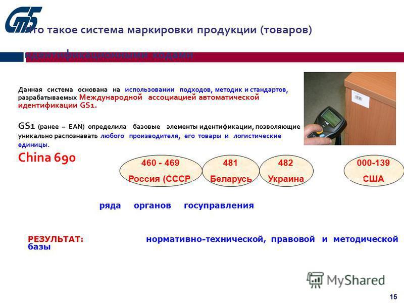15 Что такое система маркировки продукции (товаров) идентификационными кодами Данная система основана на использовании подходов, методик и стандартов, разрабатываемых Международной ассоциацией автоматической идентификации GS1. GS1 (ранее – ЕAN) опред