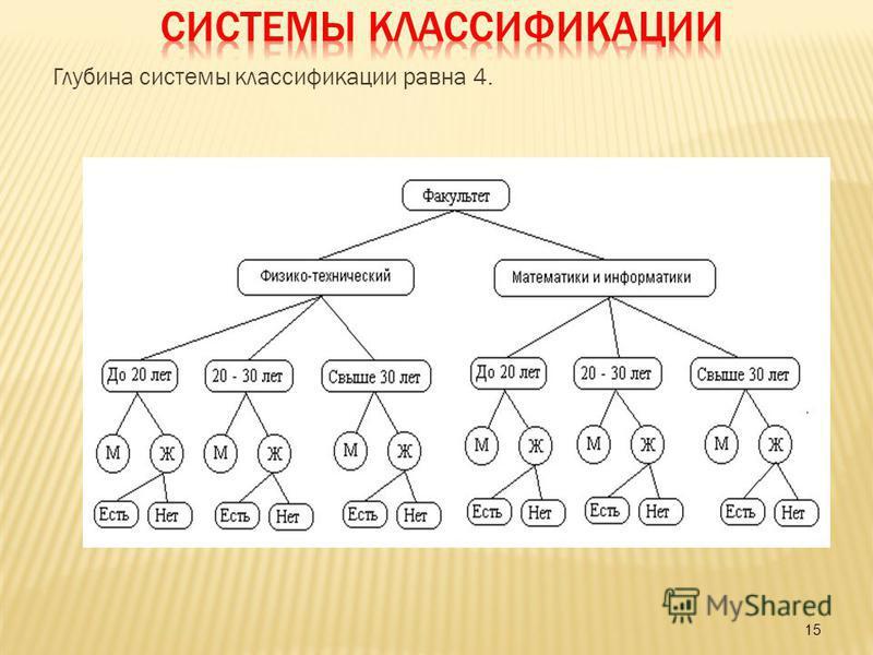15 Глубина системы классификации равна 4.