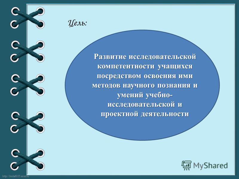 http://linda6035.ucoz.ru/ Цель: Развитие исследовательской компетентности учащихся посредством освоения ими методов научного познания и умений учебно- исследовательской и проектной деятельности