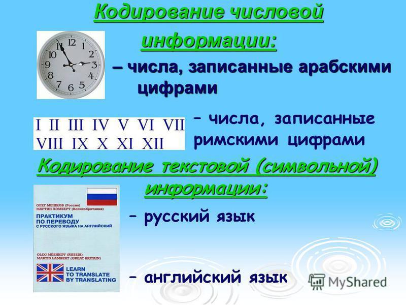 Кодирование числовой информации: – числа, записанные арабскими цифрами – числа, записанные арабскими цифрами – числа, записанные римскими цифрами – русский язык – английский язык Кодирование текстовой (символьной) информации:
