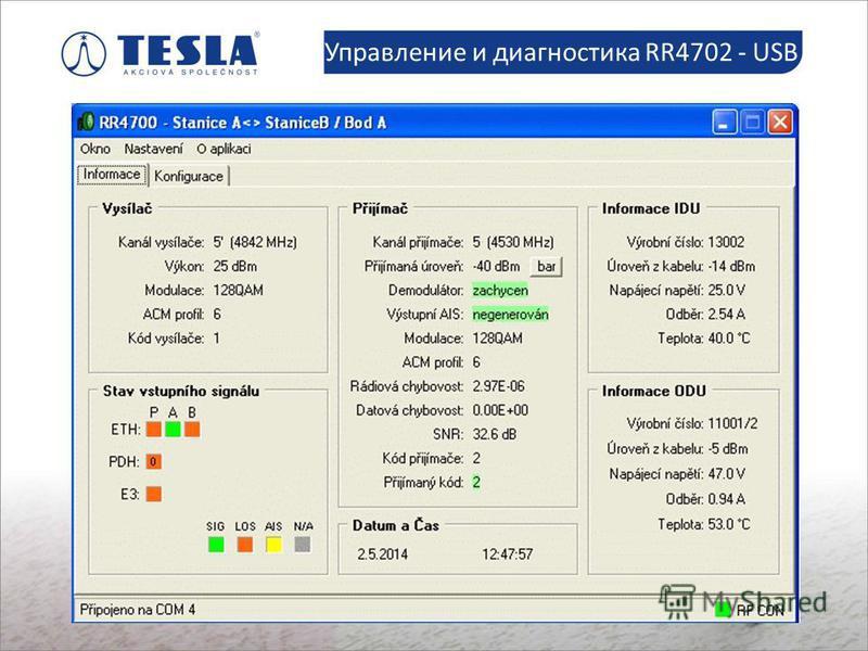 Slaboproudé montáže Управление и диагностика RR4702 - USB