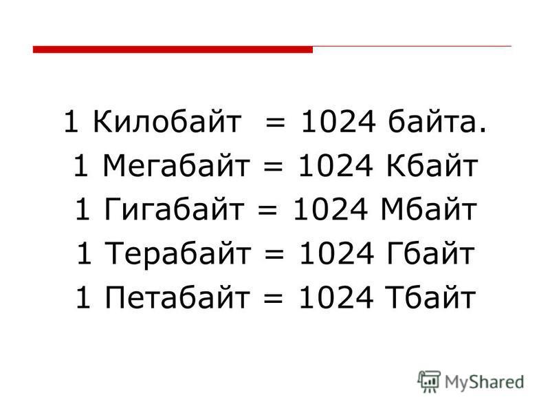 1 Килобайт = 1024 байта. 1 Мегабайт = 1024 Кбайт 1 Гигабайт = 1024 Мбайт 1 Терабайт = 1024 Гбайт 1 Петабайт = 1024 Тбайт