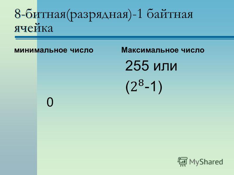 8-битная(разрядная)-1 байтная ячейка минимальное число 0 Максимальное число