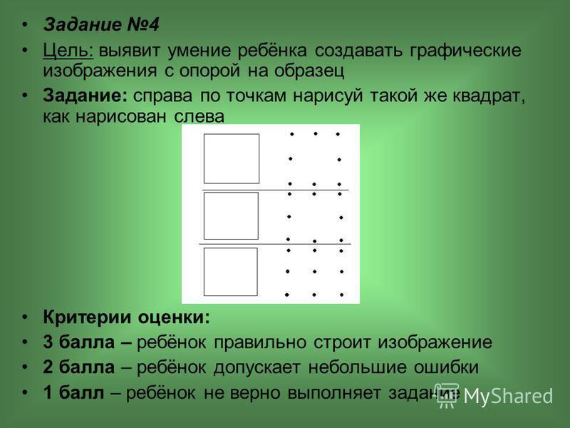 Задание 4 Цель: выявит умение ребёнка создавать графические изображения с опорой на образец Задание: справа по точкам нарисуй такой же квадрат, как нарисован слева Критерии оценки: 3 балла – ребёнок правильно строит изображение 2 балла – ребёнок допу