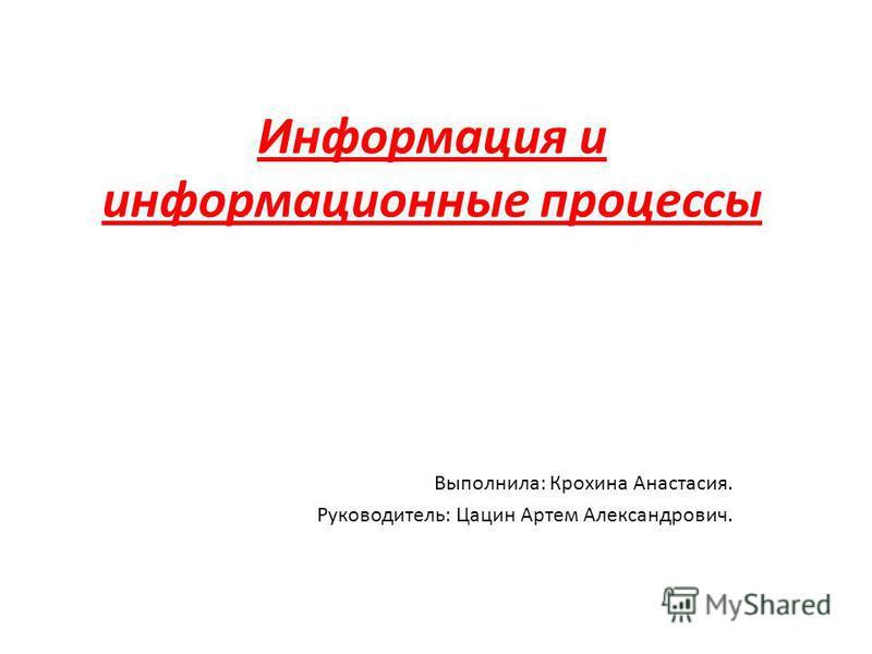 Информация и информационные процессы Выполнила: Крохина Анастасия. Руководитель: Цацин Артем Александрович.