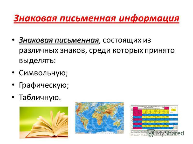 Знаковая письменная информация Знаковая письменная Знаковая письменная, состоящих из различных знаков, среди которых принято выделять: Символьную; Графическую; Табличную.