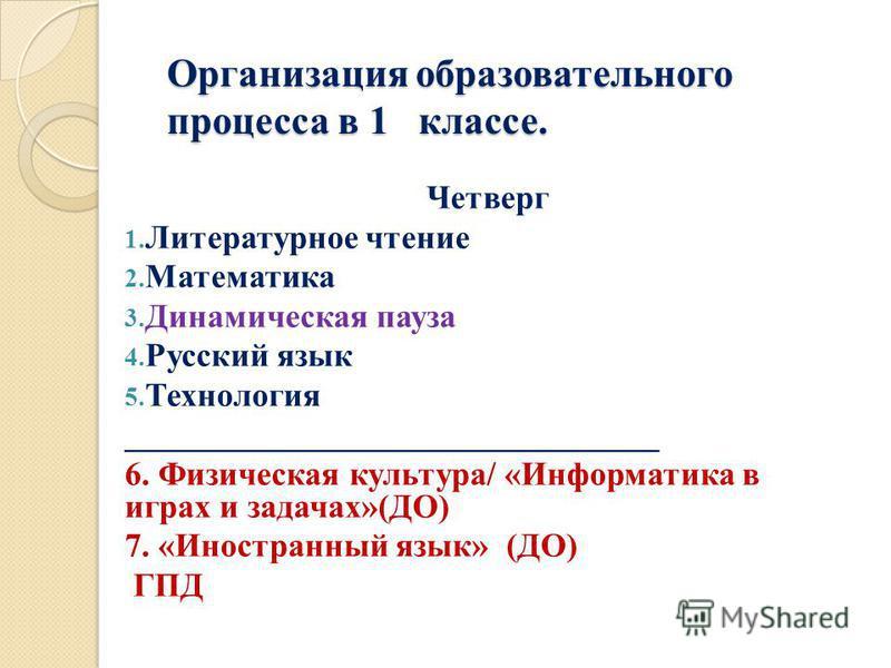 Организация образовательного процесса в 1 классе. Четверг 1. Литературное чтение 2. Математика 3. Динамическая пауза 4. Русский язык 5. Технология ________________________________ 6. Физическая культура/ «Информатика в играх и задачах»(ДО) 7. «Иностр