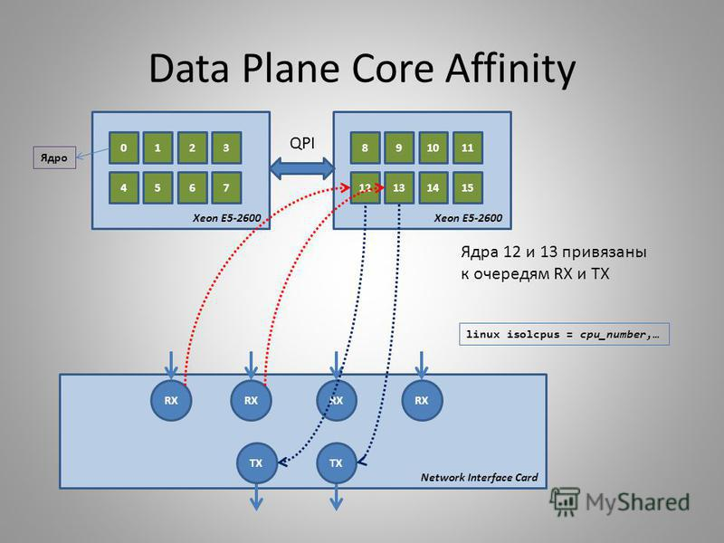 Data Plane Core Affinity 0123 4567 Xeon E5-2600 891011 12131415 Xeon E5-2600 Ядро RX TX Network Interface Card Ядра 12 и 13 привязаны к очередям RX и TX QPI linux isolcpus = cpu_number,…