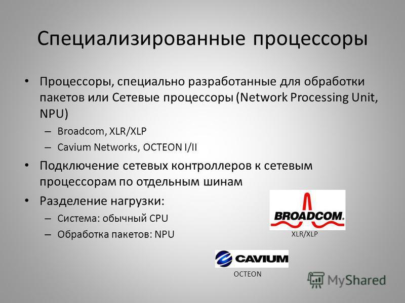 Специализированные процессоры Процессоры, специально разработанные для обработки пакетов или Сетевые процессоры (Network Processing Unit, NPU) – Broadcom, XLR/XLP – Cavium Networks, OCTEON I/II Подключение сетевых контроллеров к сетевым процессорам п