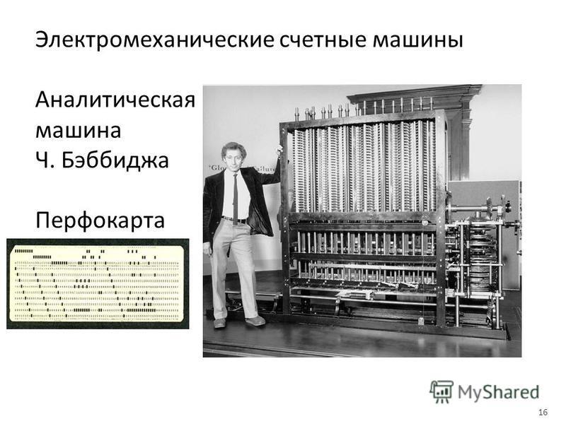 Электромеханические счетные машины Аналитическая машина Ч. Бэббиджа Перфокарта 16